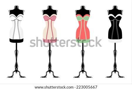 vintage corsets - stock photo