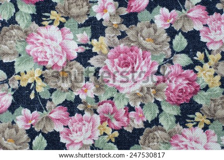 vintage cotton linen fabric texture with flowers roses.  - stock photo