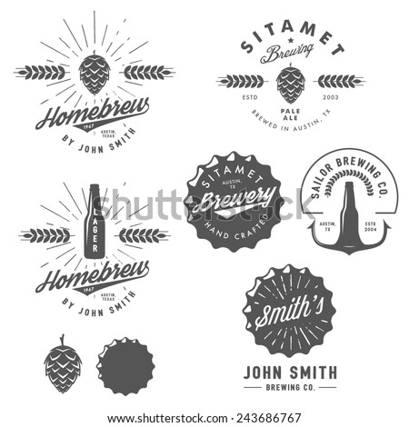 Vintage craft beer brewery emblems, labels and design elements - stock photo