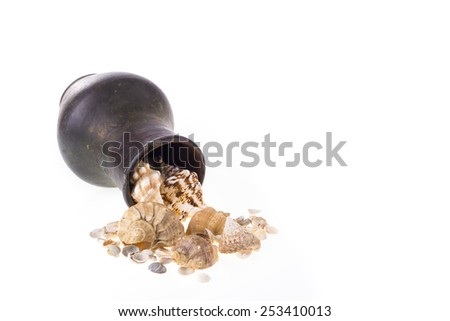 Vintage crock and shells on white - stock photo