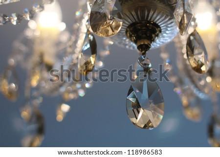 Vintage crystal lamp details, Luxury - stock photo