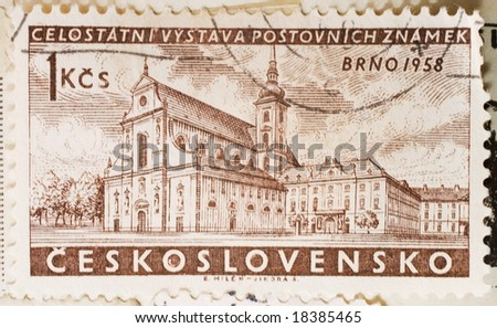 Vintage Czechoslovakian postage stamp with Brno, 1958 - stock photo