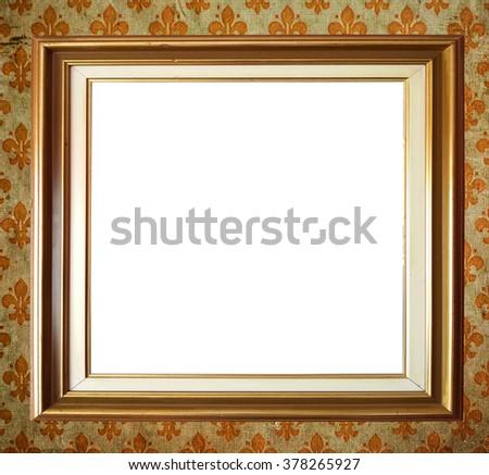 Vintage Damask background and blank photo frame - stock photo