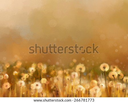 Vintage dandelion flowers in the meadows. Abstract  oil painting sunset at flower field in soft golden brown color and blur style with bokeh background.    - stock photo