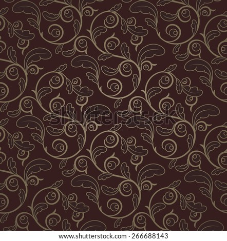 Vintage Dark Red And Gold Seamless Floral Pattern  - stock photo