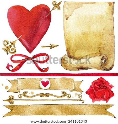 Vintage decor, old scroll paper, red heart and rose for design. watercolor.  - stock photo