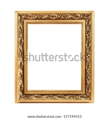 Vintage decorative antique frame, isolated on white background - stock photo