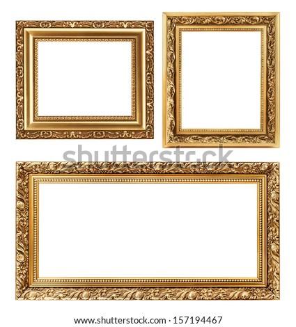 Vintage decorative antique frames, isolated on white background - stock photo