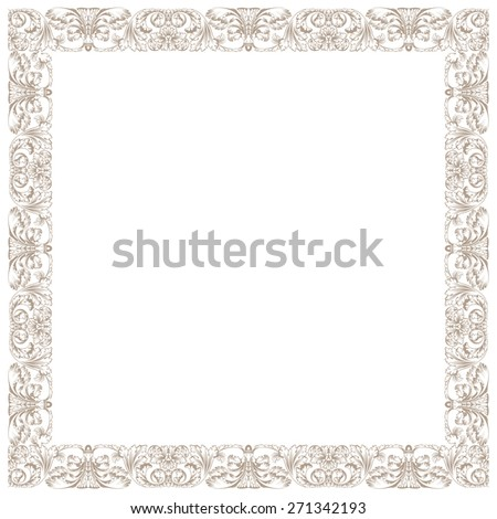 Vintage decorative framework. Illustration isolated in white square - stock photo