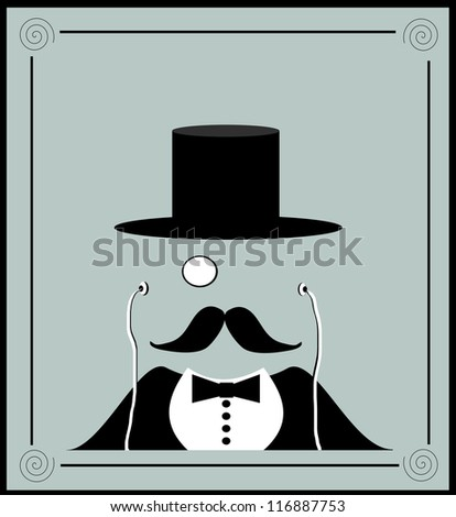 vintage decorative raster design man with monocle - stock photo