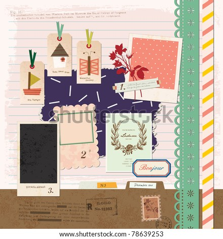 Vintage Design Elements for Scrapbook -Travel Scrapbook - stock photo