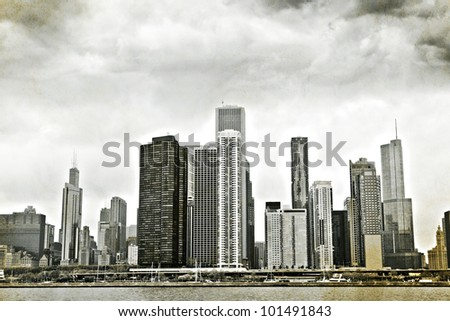 Vintage Design: Old Picture of Downtown Chicago - stock photo
