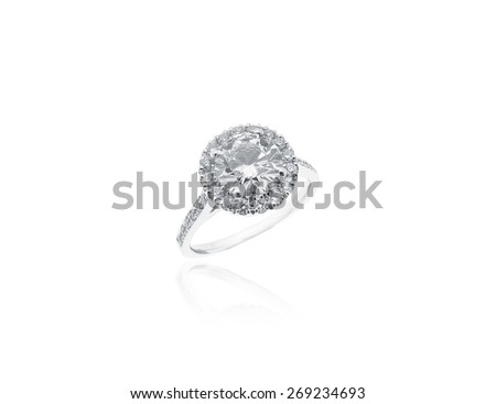 Vintage Diamonds Solitaire Jewelry Ring isolated on white background - stock photo