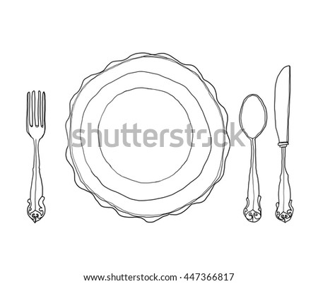 vintage dish plate fork and spoon hand drawn line art cute illustration - stock photo