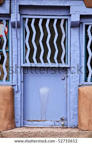 Vintage door in Santa Fe, New Mexico - stock photo