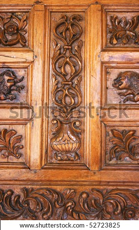Vintage door of monastery Kykkos  in Cyprus. - stock photo