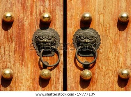 Vintage door with Lion knockers - stock photo