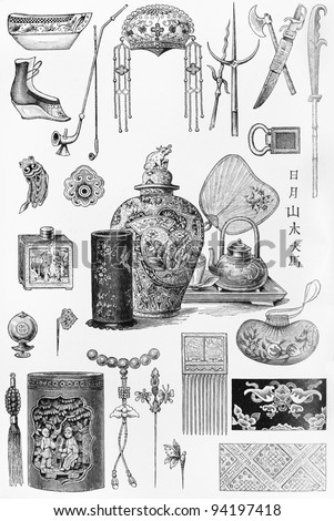 Vintage drawings representing Chinese culture and objects at the end of 19th century -  Picture from Meyers Lexicon books collection (written in German language ) published in 1906 , Germany. - stock photo