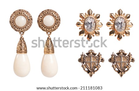 Vintage earrings - stock photo