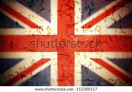 Vintage effect Union Jack grunge background - stock photo