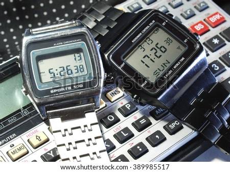 vintage eighties digital watch chronograph - stock photo