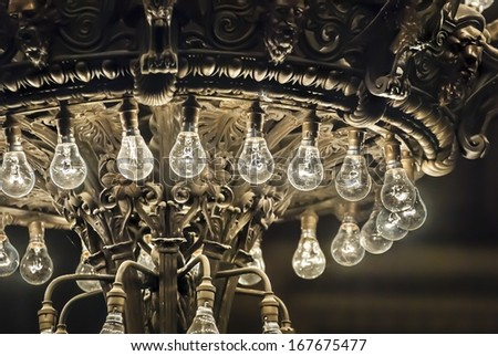 Vintage electric light bulbs in St George's Hall, Liverpool. - stock photo