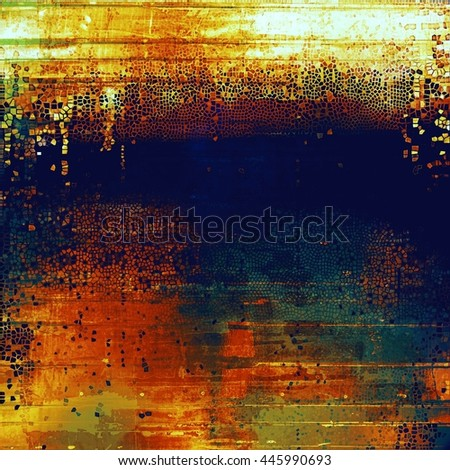 Vintage elegant background, creased grunge backdrop with aged texture and different color patterns: yellow (beige); brown; blue; red (orange); cyan - stock photo