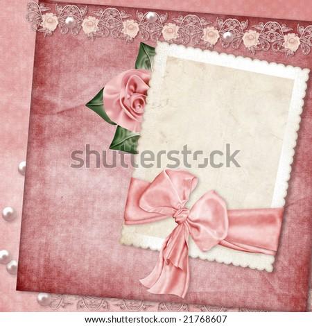 Vintage elegant frame with rose - stock photo