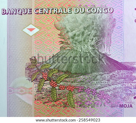 Vintage elements of old paper banknotes , Centrale Congo 1cent - stock photo