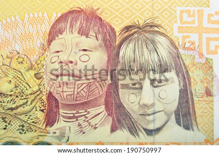 Vintage elements of paper banknotes, Brazil - stock photo