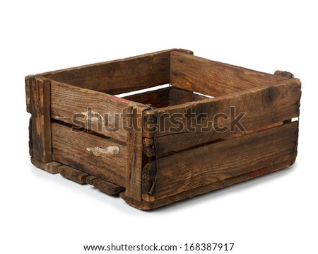 Vintage empty crate isolated on white, all in focus - stock photo