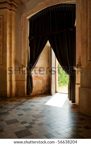 Vintage empty interior with curtains and tiles floor - stock photo