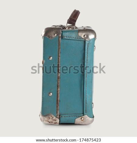 Vintage empty leather suitcase. Light-blue (turquoise). Baggage. Isolated. retro vintage suitcase bag - stock photo