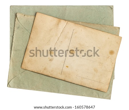 vintage envelope letter and postcard. grungy paper background - stock photo