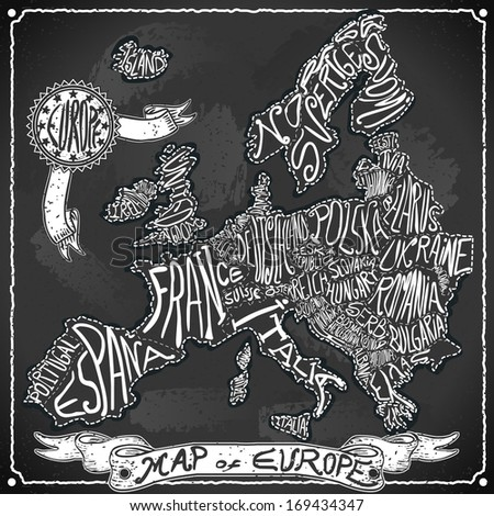 Vintage Europe Map Blackboard. Geographic European Chalk Board Map. Retro Vintage typography Europe. Chalk Handwriting European Map.Vintage Board Background Infographic Vector Image - stock photo
