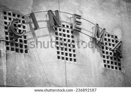 Vintage Facade of old cinema in Bucharest Romania, with cinema w - stock photo