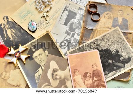 Vintage family souvenirs - stock photo