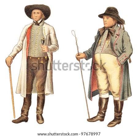 Vintage fashion - farmer from Westphalia - Germany (left) and farmer from Pomerania - Germany / Poland (right) / vintage illustration from Meyers Konversations-Lexikon 1897 - stock photo