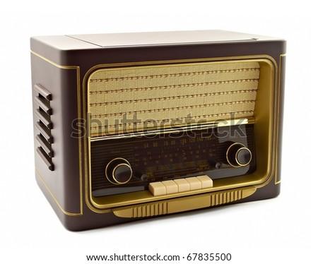 Vintage fashioned radio isolated - stock photo