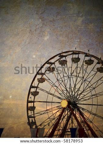 Vintage ferris wheel at the Ohio State Fair - stock photo