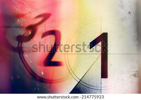 vintage film countdown 3 2 1 - stock photo