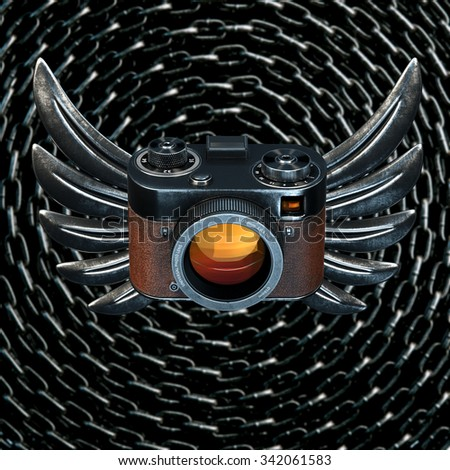 Vintage film photo camera with metal Wings on metal chain background. 3d render - stock photo
