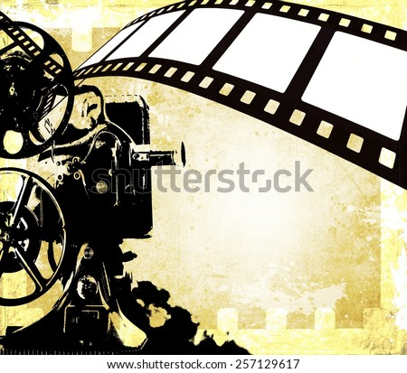 Vintage film strip background and old projector - stock photo