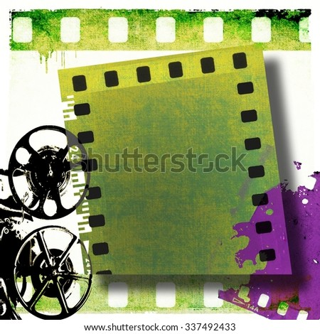 Vintage film strip frame and old projector - stock photo
