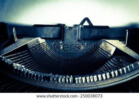 Vintage filtered image of typewriter,still life style.  - stock photo