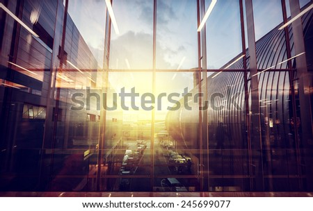 Vintage filtered picture of airport, transportation and business travel concept. - stock photo