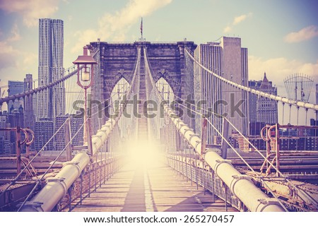 Vintage filtered picture of Brooklyn Bridge in New York City. - stock photo