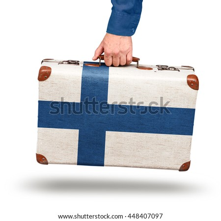 Vintage Finnish flag suitcase isolated on white visit Finland concept - stock photo