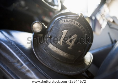 Vintage firefighter's helmet - stock photo