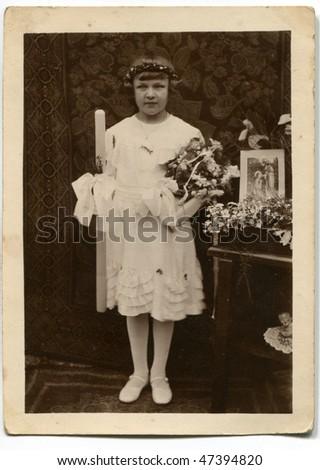 Vintage first communion photo - stock photo